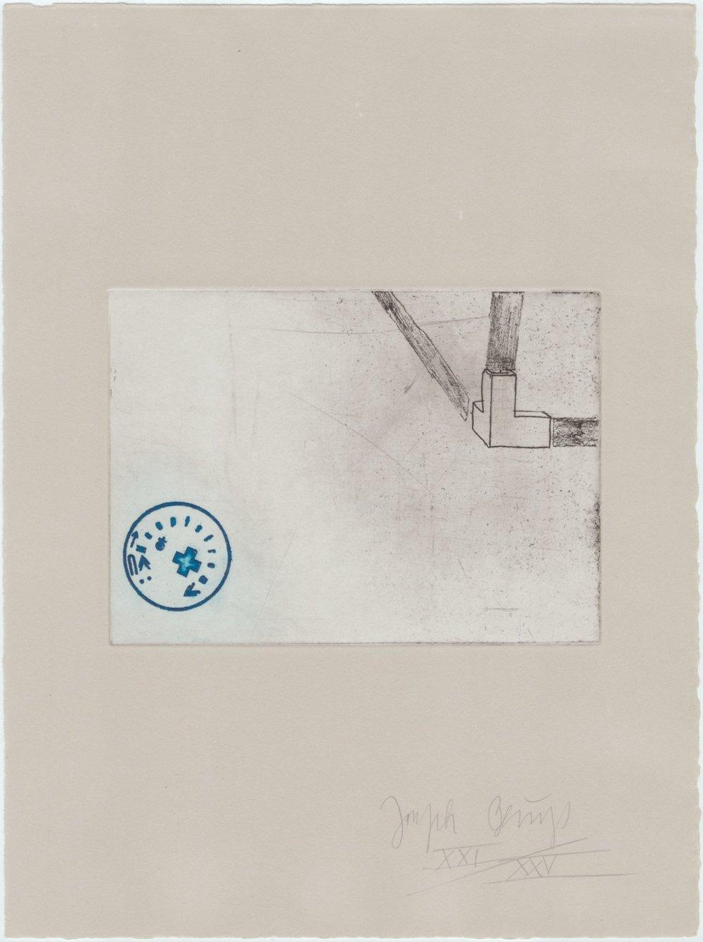 Zirkulationszeit-Raumecke, Filz, Fett XXV / XXV (Museumsausgabe, Radierung auf Rives gris) 1982