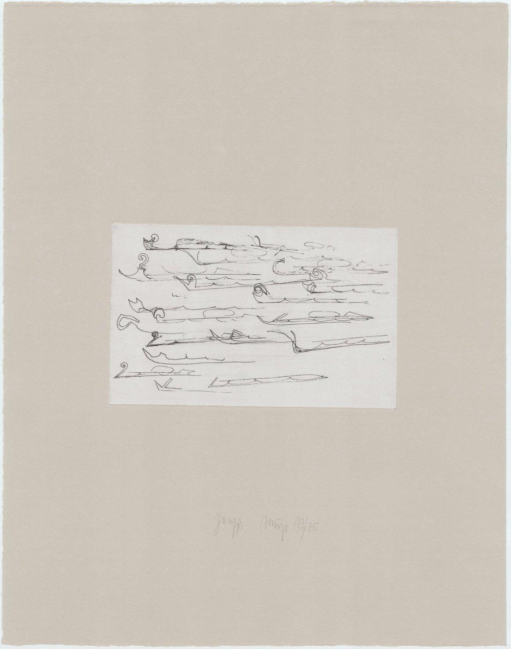 Zirkulationszeit - Urschlitten II 16/75 (Museumsausgabe, Radierung und Kaltnadel auf Rives gris) 1982