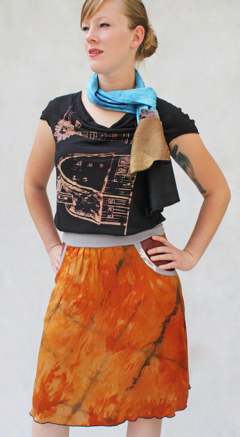 Carnival Cowl Tee, Silk Pocketed Skirt, & Collage Scarf.