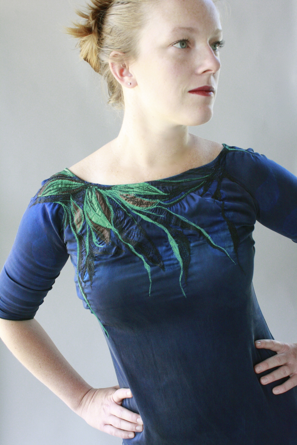 "Custom ""Tendrils Dress"" hand dyed, applique & thread painted stretch silk, 2013."