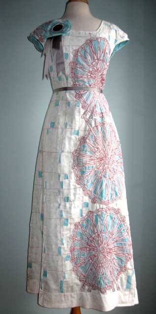 """Belle"" one of a kind screen printed & applique cotton dress incorporating found photograph, 2009. Private collection."