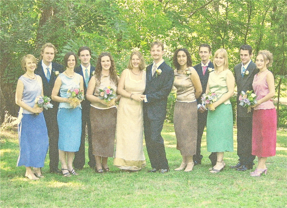 Custom wedding party: bridal gown plus hand dyed two-tone bridesmaid dresses and groomsmen's ties, circa 2005.