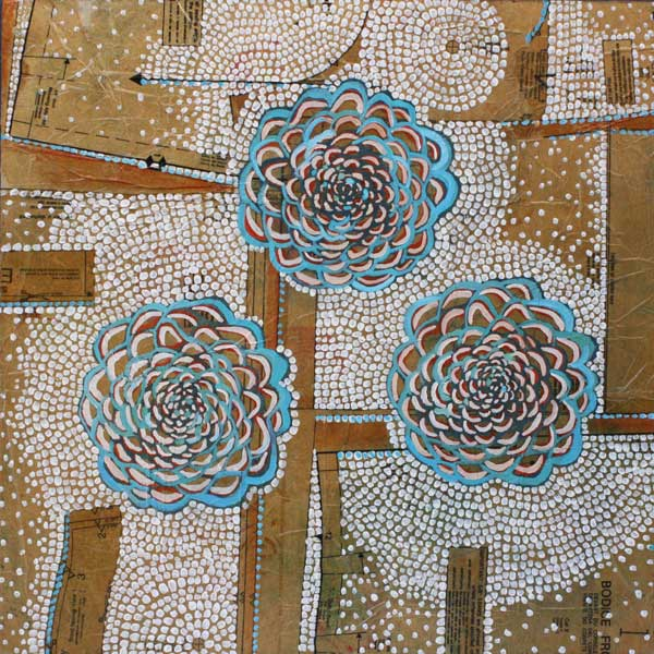 """""""Chrysanthemums,"""" 24"""" x 24"""", mixed media on wood, private collection."""