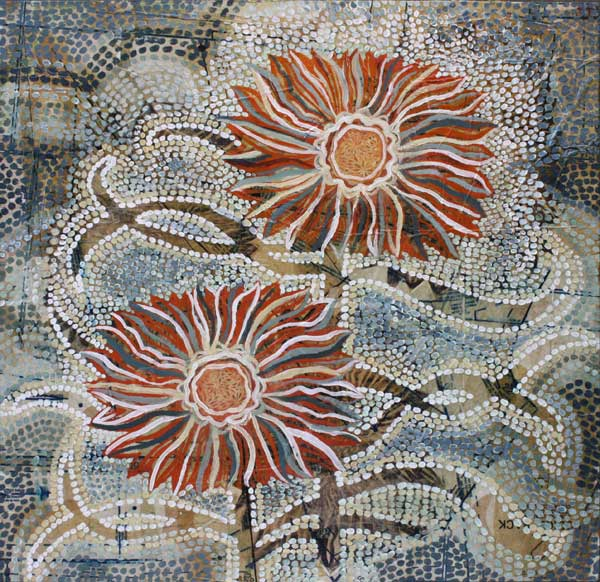 """Two Sunflowers,"" 24"" x 24"", mixed media on wood, private collection"