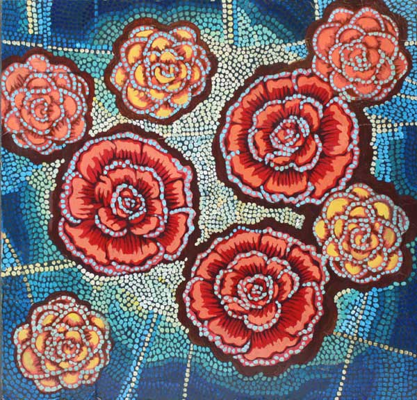 """Roses on Blue,"" 24"" x 24"", mixed media on wood, private collection."