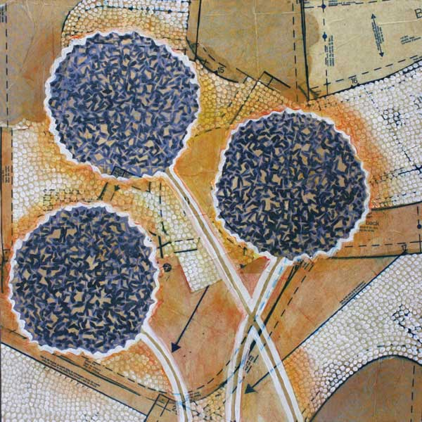 """""""Alliums,"""" 24"""" x 24"""", mixed media on wood, private collection."""
