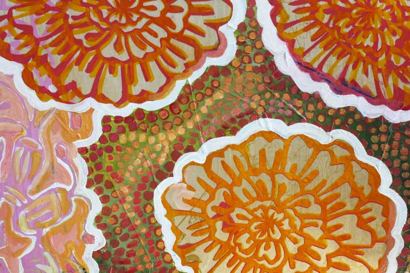 "detail, ""Marigolds on Green"""