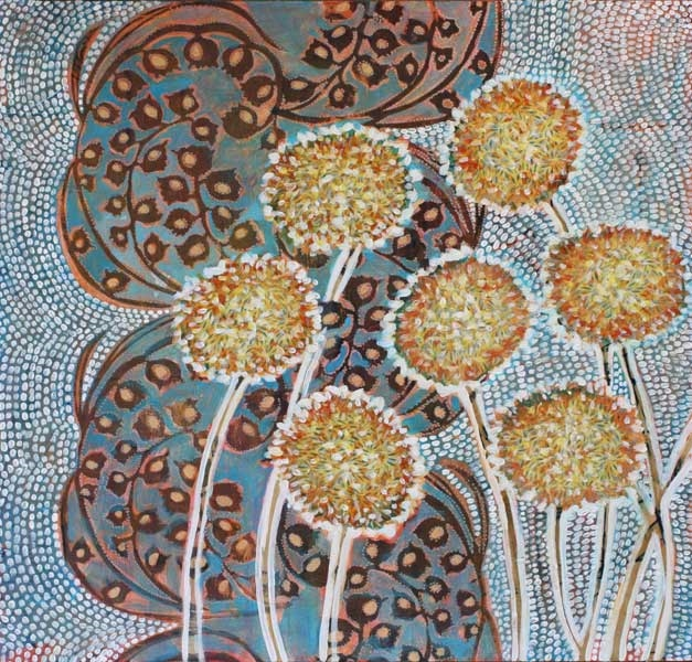 """""""Alliums on Blue,"""" 24"""" x 24"""", mixed media on wood, private collection."""