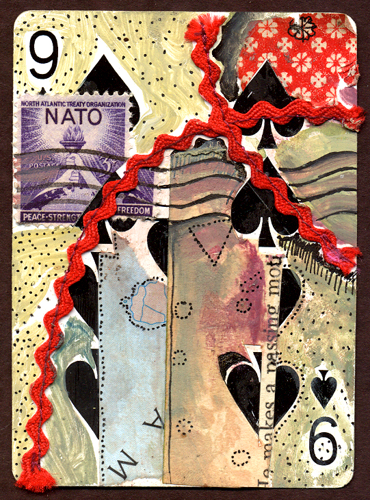 """Nine of Spades,"" mixed media on playing card, collection of the artist."