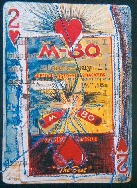 """M-80,"" mixed media on playing card, private collection"