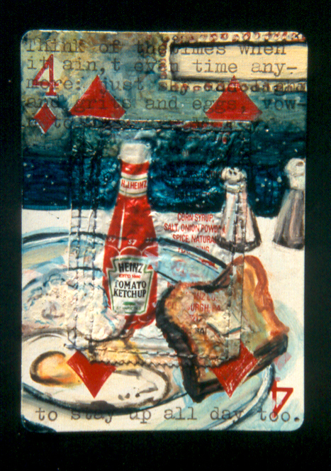 """Saturday Night Breakfast,"" mixed media on playing card, private collection"