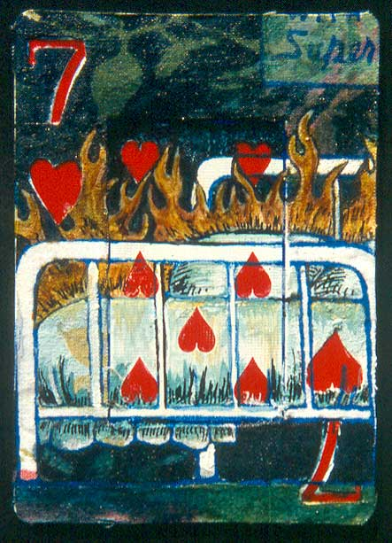 """Rocks in my Bed,"" mixed media on playing card, private collection"