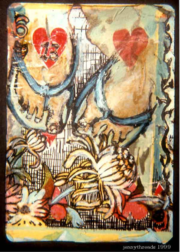 """Happy Lamp Dog Walking,"" mixed media on playing card, private collection."