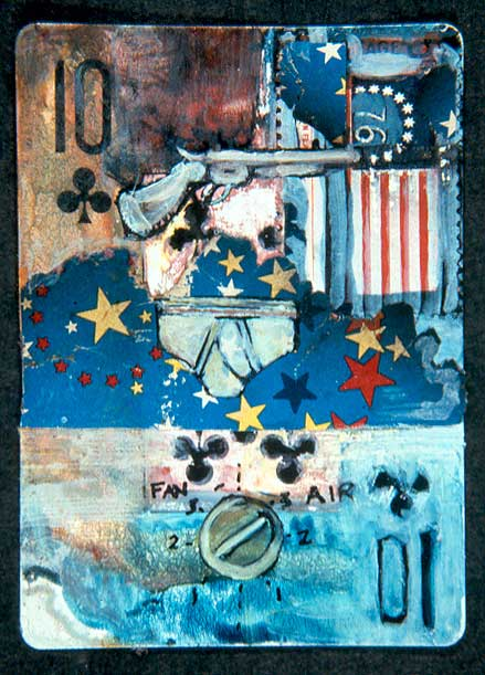 """Housesitting,"" mixed media on playing card, private collection."