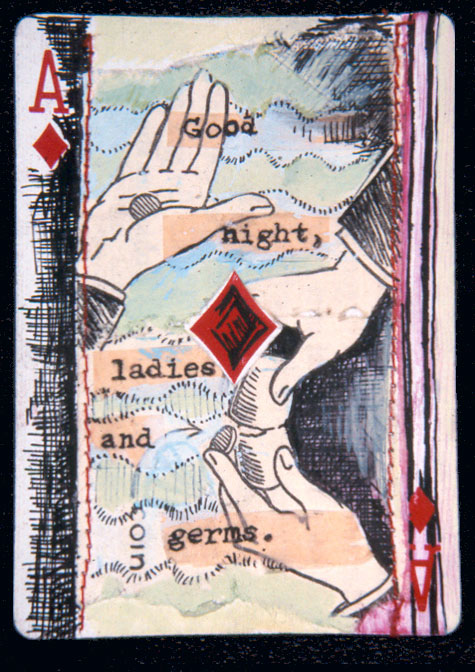 """Ladies and Germs"" mixed media on playing card, private collection."