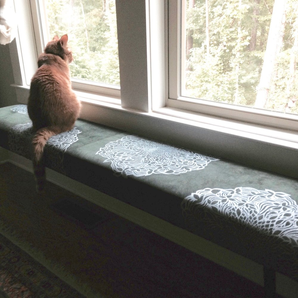 Screenprinted birdwatching bench.