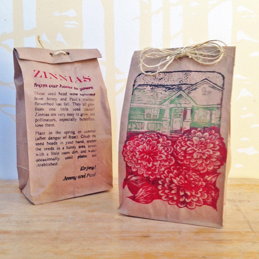 Printed zinnia seed bags.