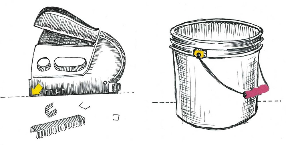 """Stapler"" and ""Bucket"" book illustrations."