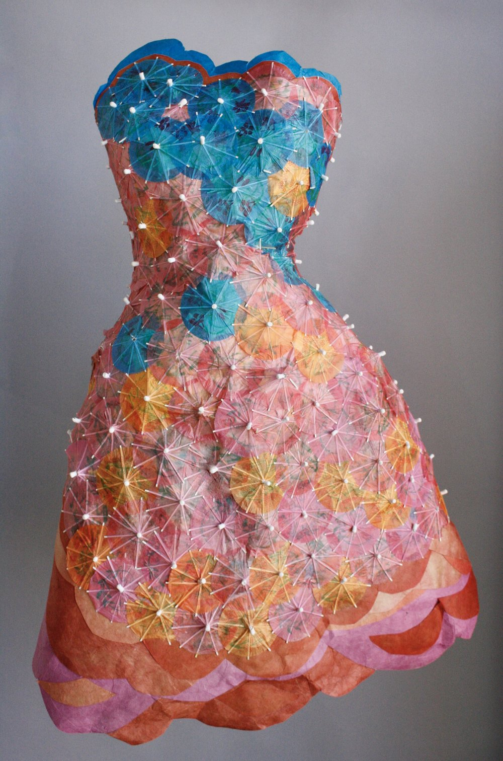 """""""Cocktails, Anyone?"""" Dress made of paper cocktail umbrellas, 2012."""