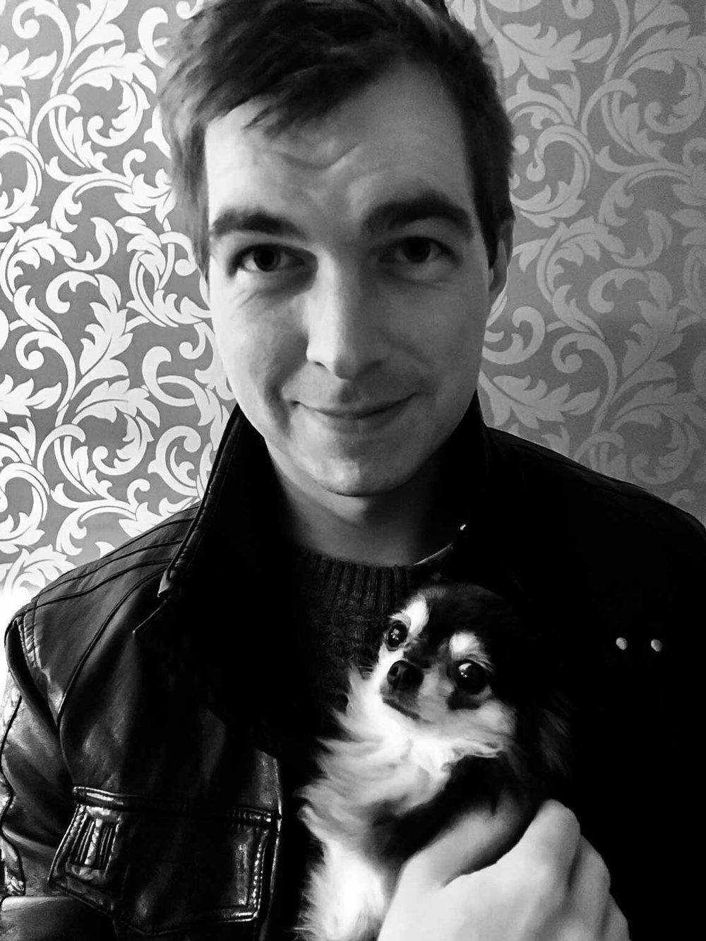 David Durbin, Gentleman Copywriter – plus Nina,long-haired Chihuahua.