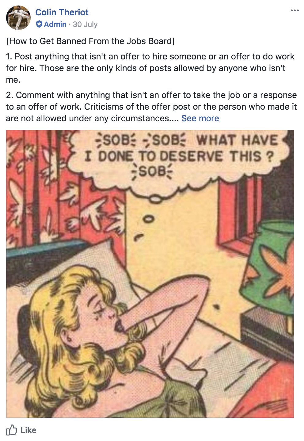 The Pinned Post on the Cult of Copy Job Board