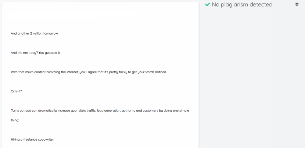Quetext checks your copy for plagiarism.