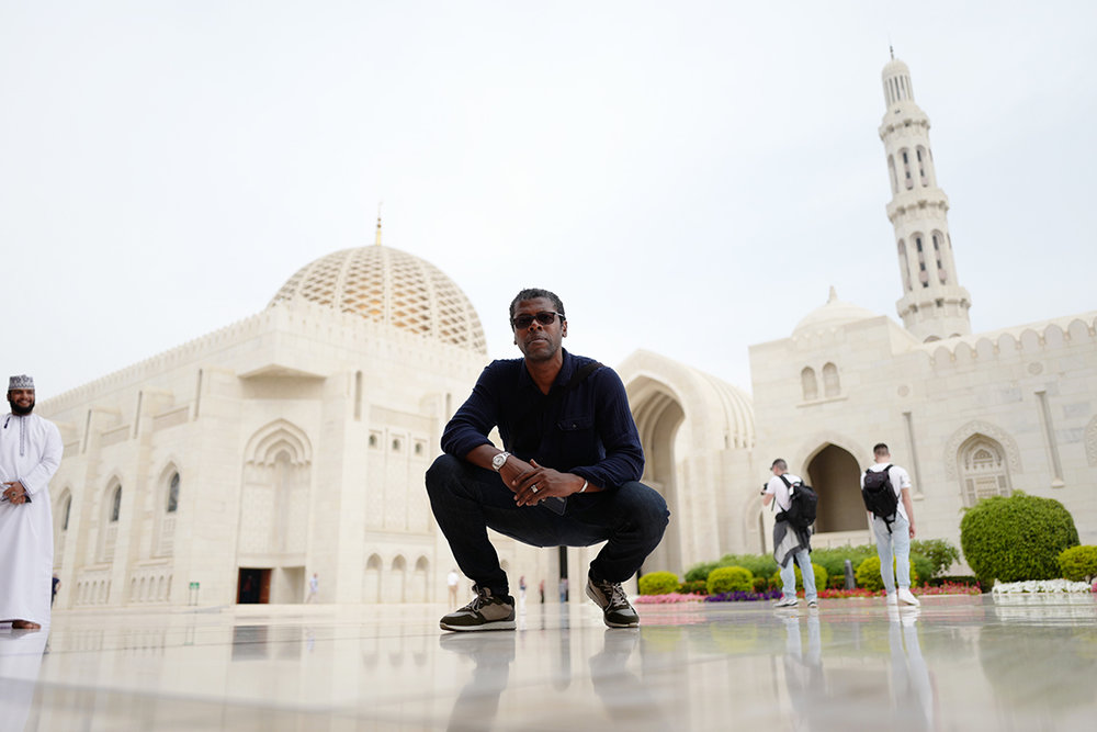 Chi shown on location at the Sultan Qaboos Grand Mosque, Muscat Oman 2018