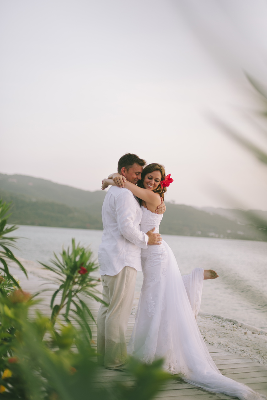Playful Bride & Groom on by the Sea in Montego Bay, Jamaica by Jamaica Wedding Photographer