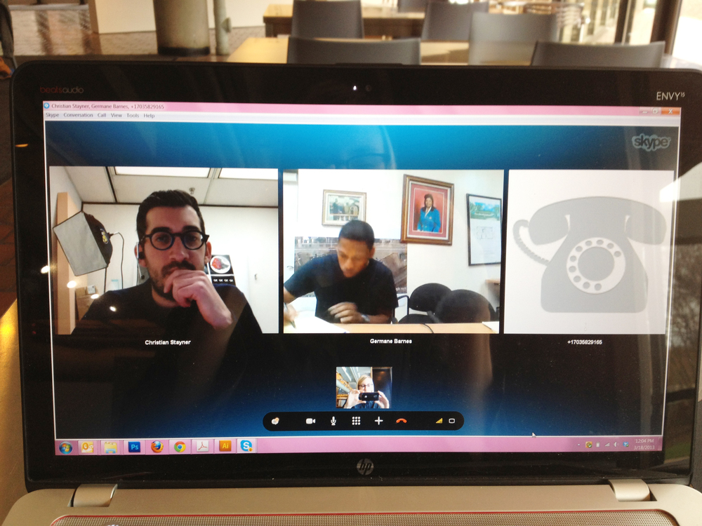 Skype with the team and graphic designer Amanda Buck. (Detroit-Atlanta-Opa-locka-Chicago)