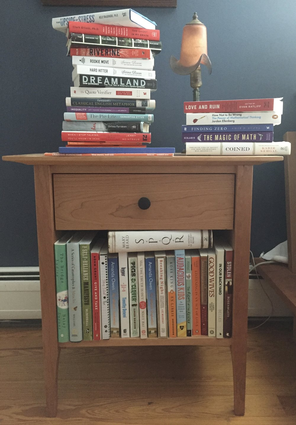 Jess' nightstand and the mess of books she's working on at the moment.