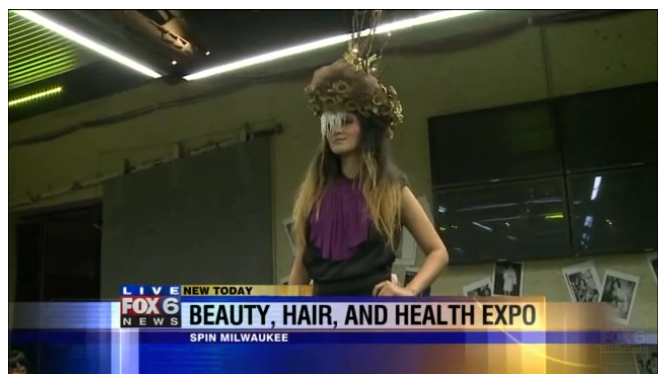 Danielle Simone Burren - Wearable art / recycled materials headpiece featured on Fox 6 News for Milwaukee Fashion Week / FashionWeekMKE Initiative 2013