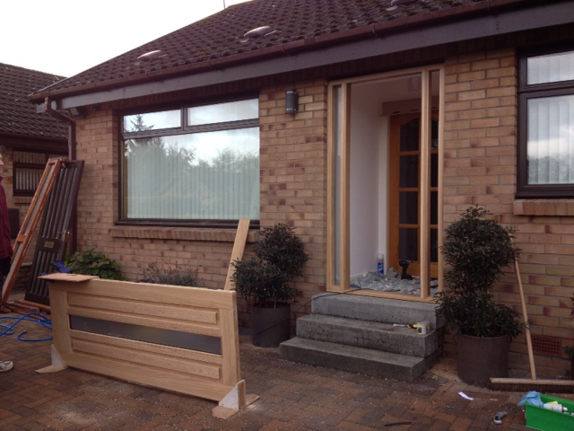 Solid oak door and frame with obscured glass providing light and privacy. Currently halfway through job in denny.