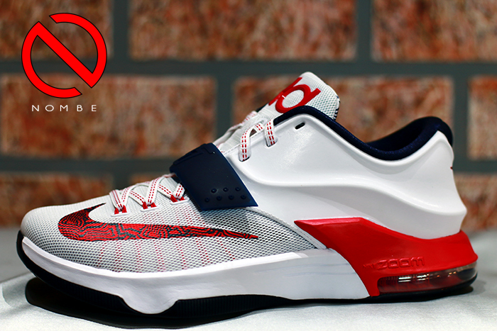 Nike KD 7 'USA' Color:  White/University Red/Obsidian   Style Code:  653996-146   Release Date:  06/26/14   Price:  $150