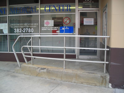 The former entrance to Catalogue Pick-Up and the elevator entrance