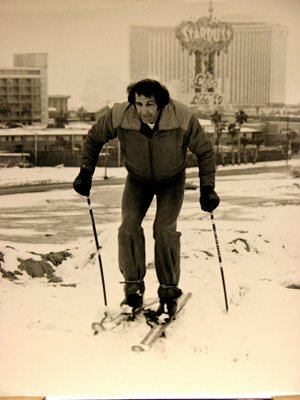 "Near the Strip, a skier enjoys one of the valley's few snows. A winter storm dumped 7.4 inches of snow on the valley floor on January 31, 1979. The next day, during his show at the Aladdin Hotel, comedian Gabe Kaplan quipped ""Las Vegas has always been my favorite ski resort."" Courtesy of the   http://thesmithfamilyupdate.blogspot.com/2008/12/weird-wild-weather.html"