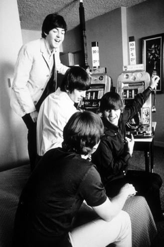Beatles in their hotel room-Courtesy of the Las Vegas News Bureau