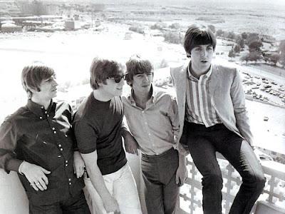 Beatles on the balcony at Sahara Hotel-Courtesy of the Las Vegas News Bureau