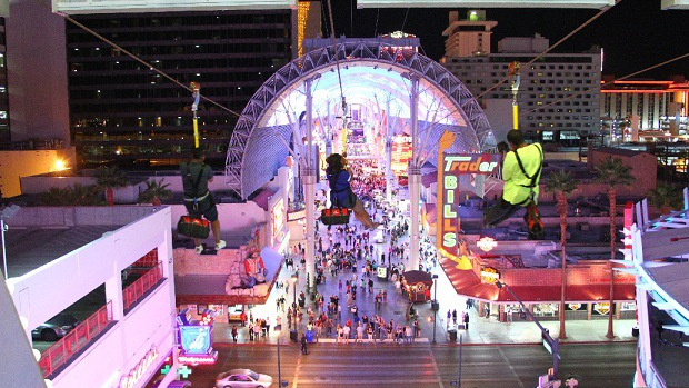SlotZilla zip line on Fremont Street. (photo courtesy: Preferred Public Relations)