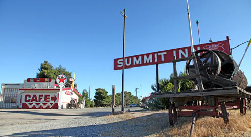 Summit Inn at the Cajon Pass on I-15 used to have a moving neon sign, a busy gas station and great cafe.