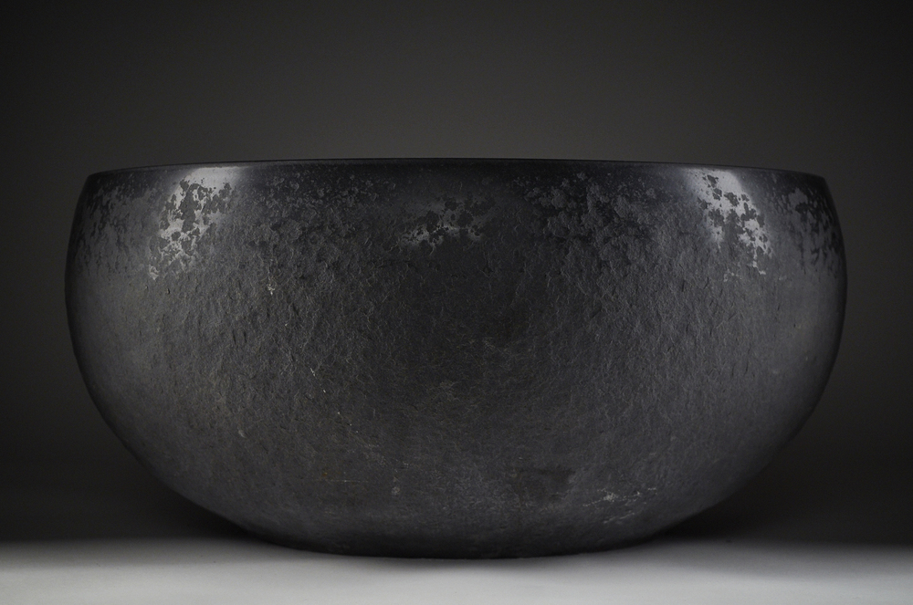 """Client: Ken Matsumoto-Art Object Gallery.  http://www.artobjectgallery.com/index/#/ken-matsumoto /                             Details: """"Black Usu"""" 30""""X 8"""" Carved Stone. (Japanese rice pounding mortar). 2013"""