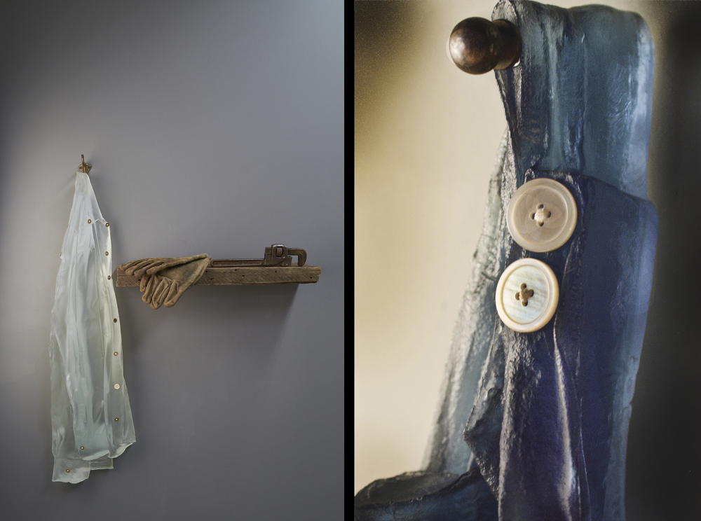 Client: Cassandra Straubing. http://www.bullseyegallery.com/Artist-Detail.cfm?ArtistsID=387                                                               Details: KilnCast Glass Denim Jacket and Found Objects (Left), 2012. KilnCast Glass Apron and Found Objects (Closeup) (Right). 2011