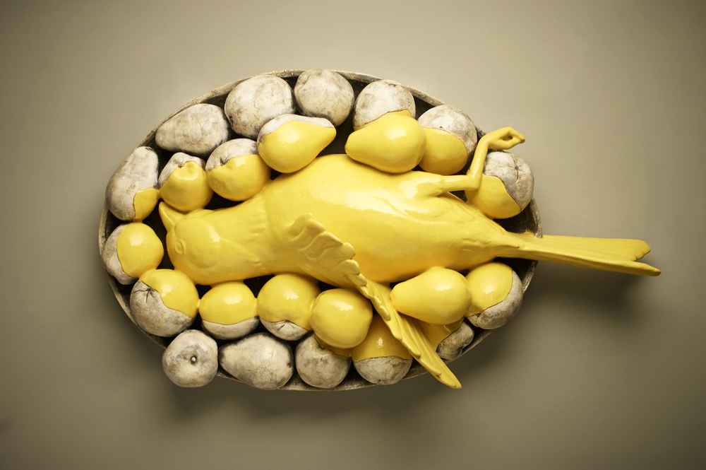 "Client: Monica Van Den Dool at  http://www.monicavandendool.com/                                                     Details: ""Cameo"" Glazed Ceramic. 30"" x 18"" x 7"". 2011"