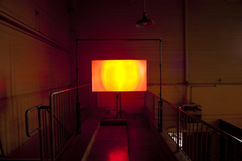 AMARILLO-ORO-FU EGO (2012) Neon light, Fresnel Lens. First of three installations. Neon tube fabricated by Kevin Chong.