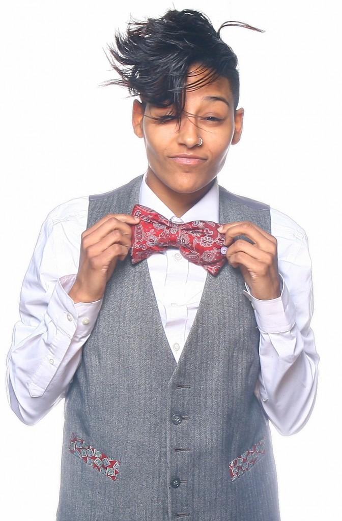 JagandCo Model Hokulani wearing custom vest/bow tie