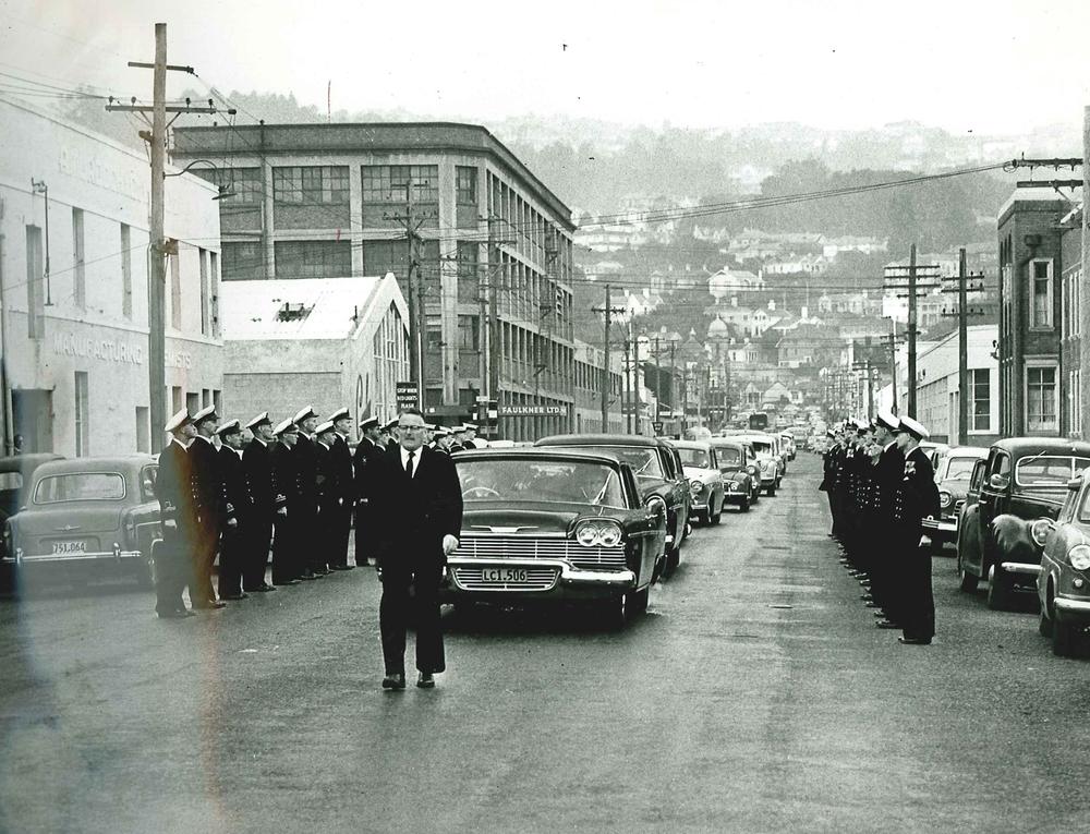 E L Hope directing funeral of Frederick Fraser MBE 1962.jpg