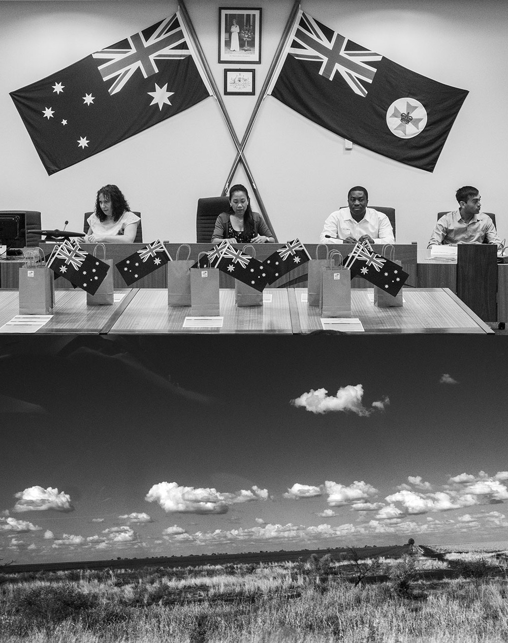 'Change is in the air' (New Australian citizens at a citizenship ceremony in Emerald and the landscape between Springsure and Emerald, Qld). 8 September 2015.