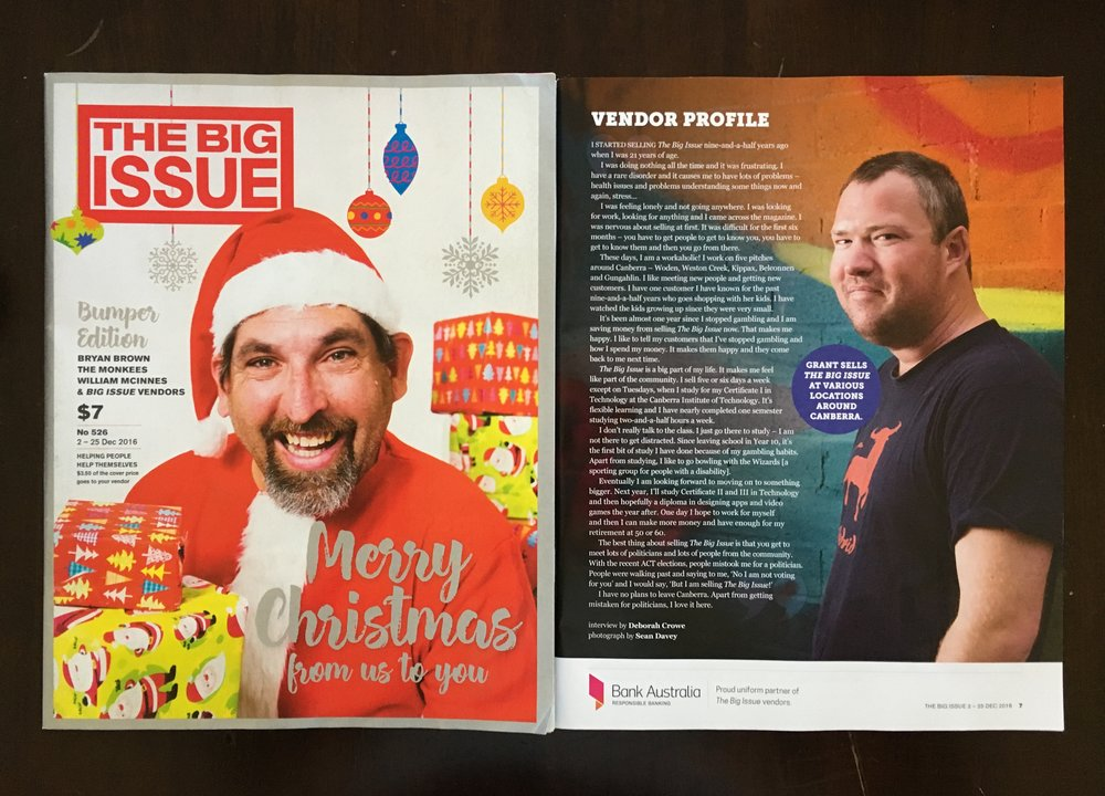 Robbo from Newtown graces the cover as Santa for the 2016 special Christmas edition of The Big Issue and Grant stars in this month's Vendor Profile.