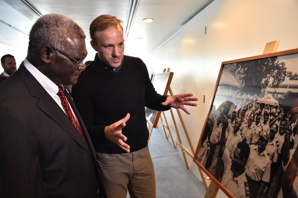 The Hon. Manasseh Sogavare, Prime Minister of Solomon Islands (l) with Sean Davey at the official launch of 'Next Generation: Solomon Islands after RAMSI' at Parliament House, Canberra. (2017)