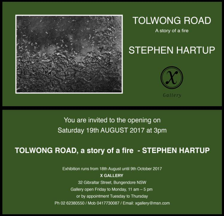 'Tolwong Road - a story of a fire' invitation card.