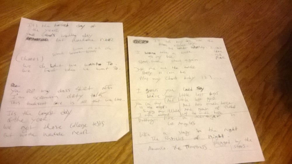 My original notes while writing and recording 'Hottest'.